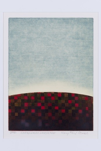 Mary Farl Powers, Chequered Landscape, 1977, Colour etching, 26.5 x 20 cm, Collection Irish Museum of Modern Art, Donation, Powers Family, 2009