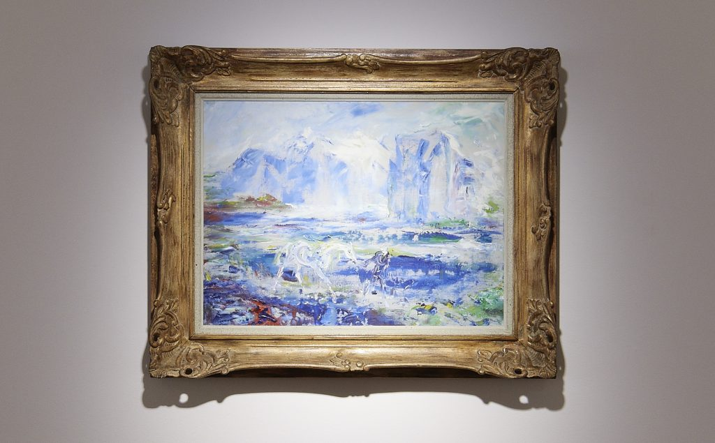 Jack Butler Yeats. Confidence, 1949. Oil on canvas. 46 x 61 cm. Collection Irish Museum of Modern Art.Loan, the Beecher Collection, 2002. Installation view photo by Ros Kavanagh
