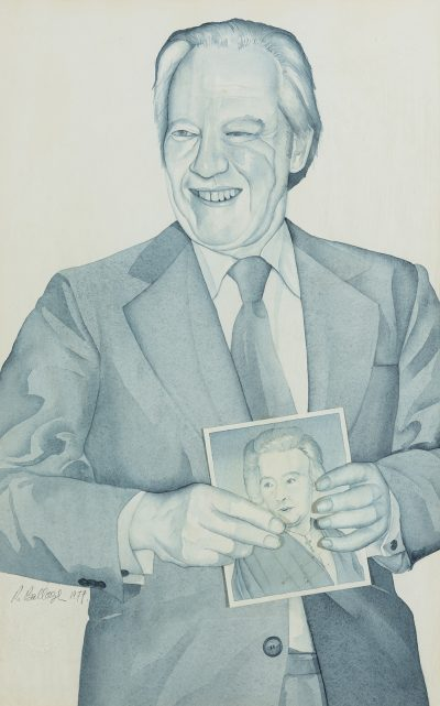 Portrait of Ian Baird holding a drawing of his wife Beatrice