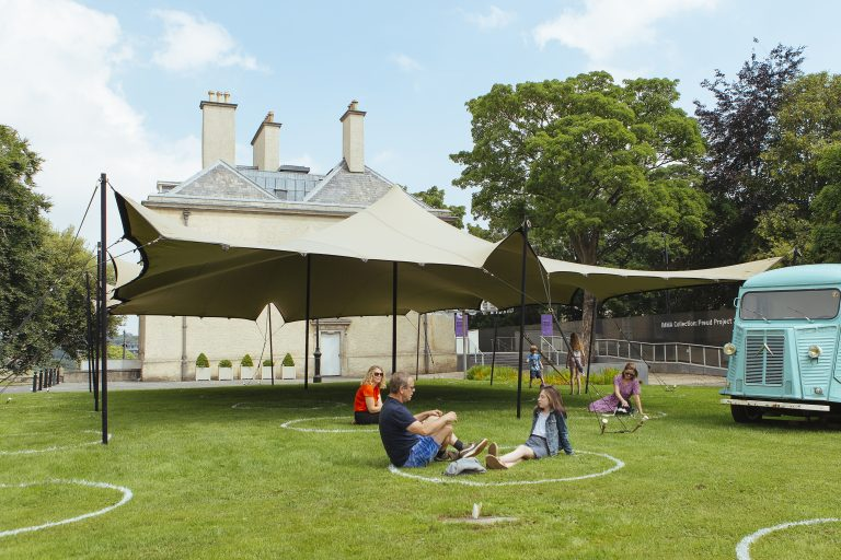 IMMA's new outdoor area The People's Pavilion with Social Distancing Circles. Photo Kyle Tunney