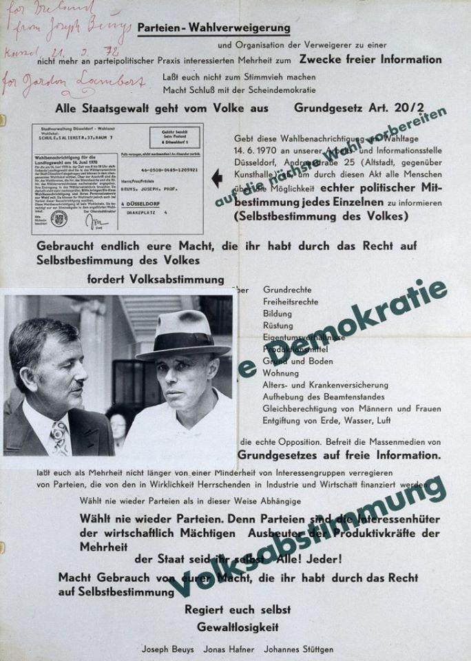 """Joseph Beuys, Poster signed """"for Gordon Lambert"""", 1970"""