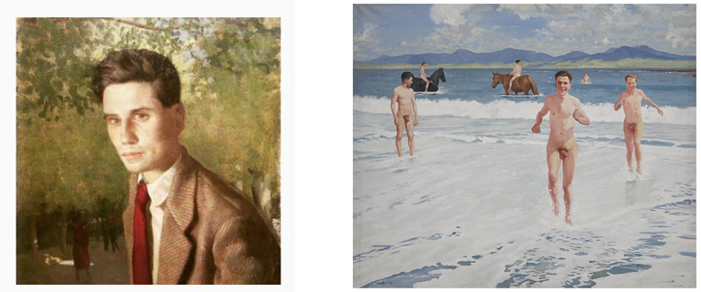 1. Hennessy. Portrait of a Man, c. 1960s. 2. Henry Robertson Craig, Nude Beach Boys, 1960s