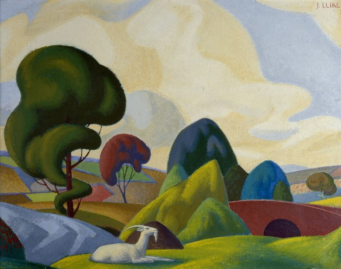John Luke, Goat and Mountain, 1935, Tempera on board, 31.5 x 41 cm Framed: 41.5 x 51 x 3.5 cm, Collection Irish Museum of Modern Art, Heritage Gift from the McClelland Collection by Noel and Anne Marie Smyth, 2004