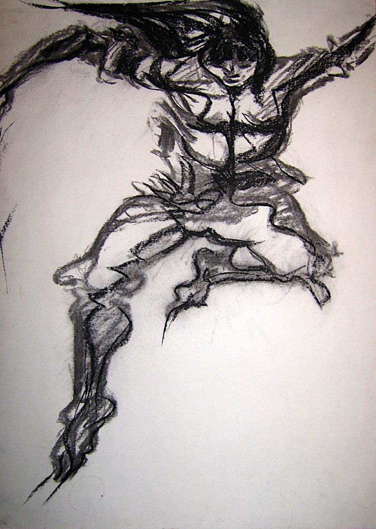 Paola Catizone, Leaping, 2020, Charcoal on paper