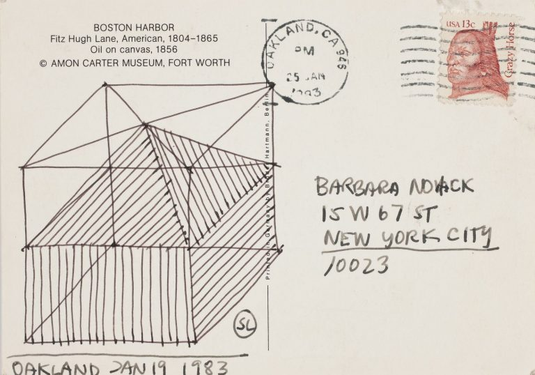 Sol LeWitt, Oakland, 1983, Drawing on postcards, felt-tip pen, 10.5 x 14.7 cm, Collection Irish Museum of Modern Art, The Novak/O'Doherty Collection at IMMA Gift, The American Ireland Fund, 2014