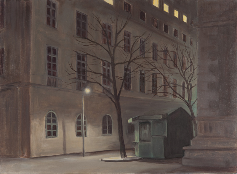 Eithne Jordan, Night Street XVI, Oil on Linen, 73 x 100cm, 2009