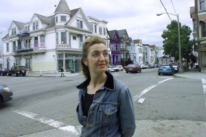 Rebecca Solnit during a Panhandle walkabout. Photo: LIZ HAFALIA / San Francisco Chronicle 2000