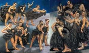 Paula Rego, Dancing Ostriches, 1995, Pastel on paper mounted on aluminium left panel 162.5 × 155 cm; right panel 160 × 120 cm © Paula Rego, Courtesy of The Artist and Marlborough, New York and London Marlborough International Fine Art