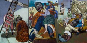Paula Rego, The Pillowman, 2004Oil and mixed media on paper, collage and canvas Three panels: each 180 x 120 cm © Paula Rego, Courtesy of The Artist and Marlborough, New York and London Private Collection