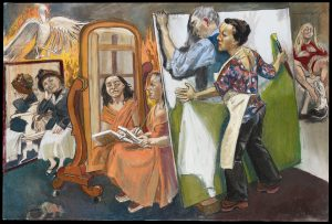 Paula Rego,Painting Him Out, 2011, Pastel on paper on aluminium 119.4 x 179.7 cm © Paula Rego, Courtesy of The Artist and Marlborough, New York and London Private Collection, Courtesy of Marlborough Fine Art