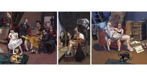 Paula Rego, The Betrothal: Lessons: The Shipwreck, after 'Marriage a la Mode' by Hogarth, 1999 Pastel on paper mounted on aluminium Three panels: 1 - 150 x 160 cm, 2 - 150 x 90 cm, 3 - 150 x 160 cm © Paula Rego, Courtesy of The Artist and Marlborough, New York and London Tate: Purchased with assistance from the Art Fund and the Gulbenkian Foundation 2002