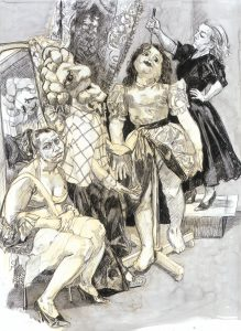 Paula Rego,Impailed, 2008, Conté, conté pencil and ink wash on paper 137 x 102 cm © Paula Rego, Courtesy of The Artist and Marlborough, New York and London Private Collection, London Courtesy of Marlborough Fine Art