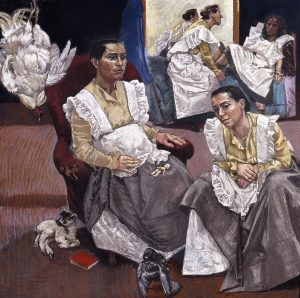 Paula Rego, The Coop, 1997, Pastel on paper mounted on aluminium 150 x 150 cm © Paula Rego, Courtesy of The Artist and Marlborough, New York and London The Devonshire Collection, Chatsworth