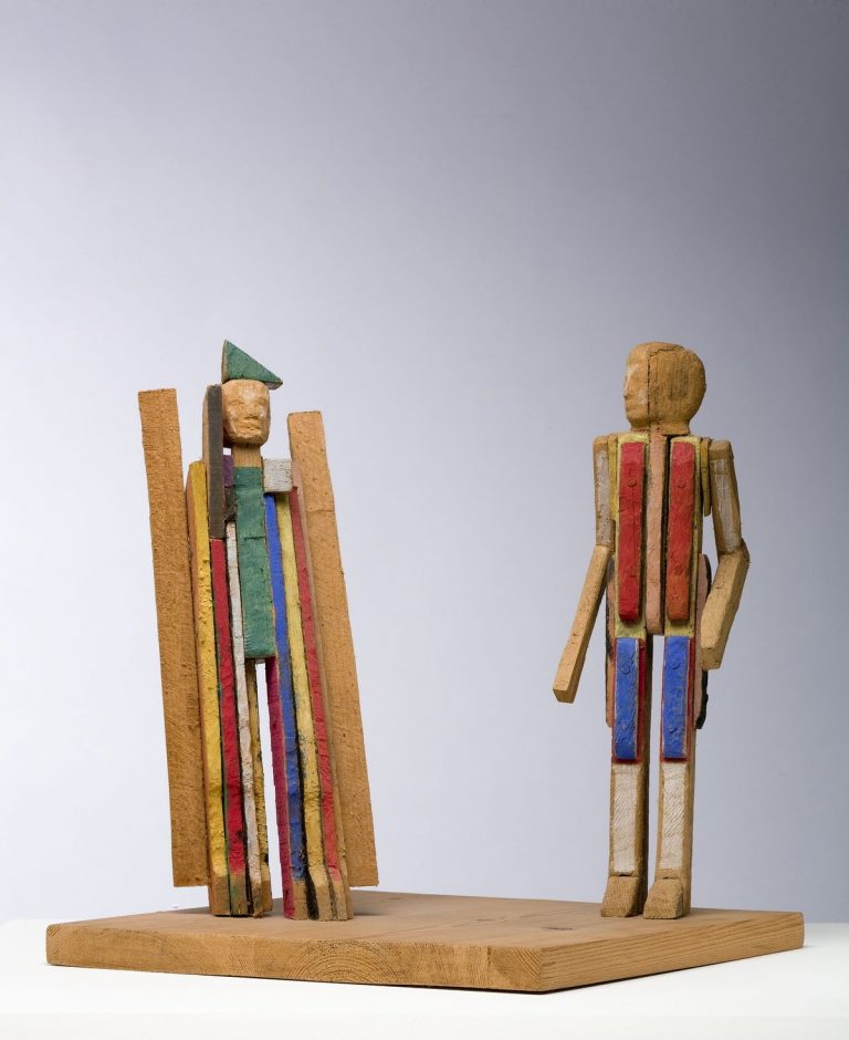 James McKenna, A Funny Thing Happened on the Way to the G.P.O., 1990, Painted wood, 35 x 35 x 35 cm, Collection Irish Museum of Modern Art, Purchase, 1993