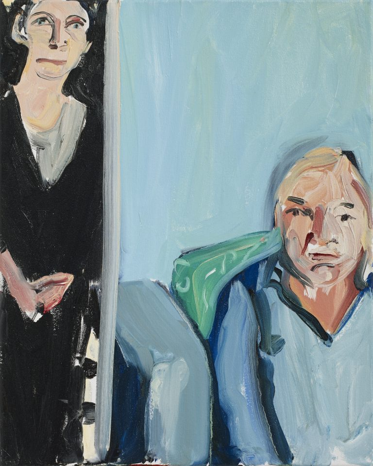 Chantal Joffe, The Conversation, 2016 Oil on canvas 50.7 x 40.7 x 2 cm 20 x 16 1/8 x 3/4 in, © Courtesy the artist and Victoria Miro.