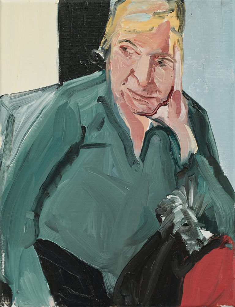 Chantal Joffe, My Mother with Fern, 2017 Oil on canvas, 40.8 x 31.3 x 2 cm, © Courtesy the artist and Victoria Miro.
