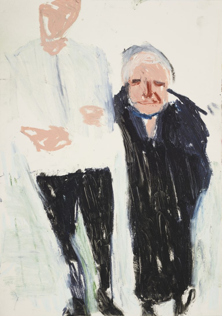 Chantal Joffe, Oscar and My Mother, 2019 Oil stick, pastel, pencil on cartridge paper 59 x 42 cm, © Courtesy the artist and Victoria Miro.