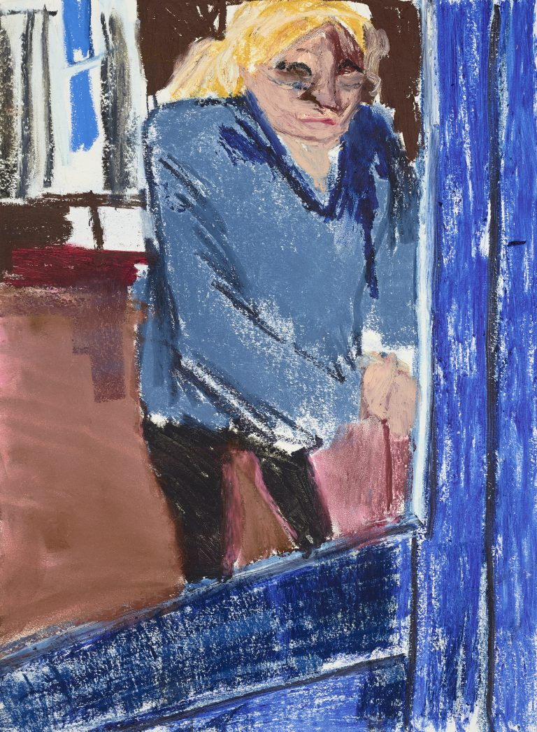 Chantal Joffe, My Mother Locking Her Door, 2020 Oil stick, pastel, pencil on cartridge paper 60 x 42 cm, © Courtesy the artist and Victoria Miro.