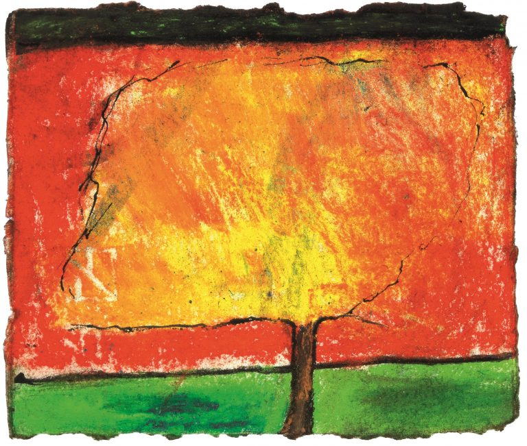 Patrick Hall, Burning Tree, 2006, Ink and pastel on paper, 12 x 14 cm, Collection Irish Museum of Modern Art, Donation, 2008 © the artist