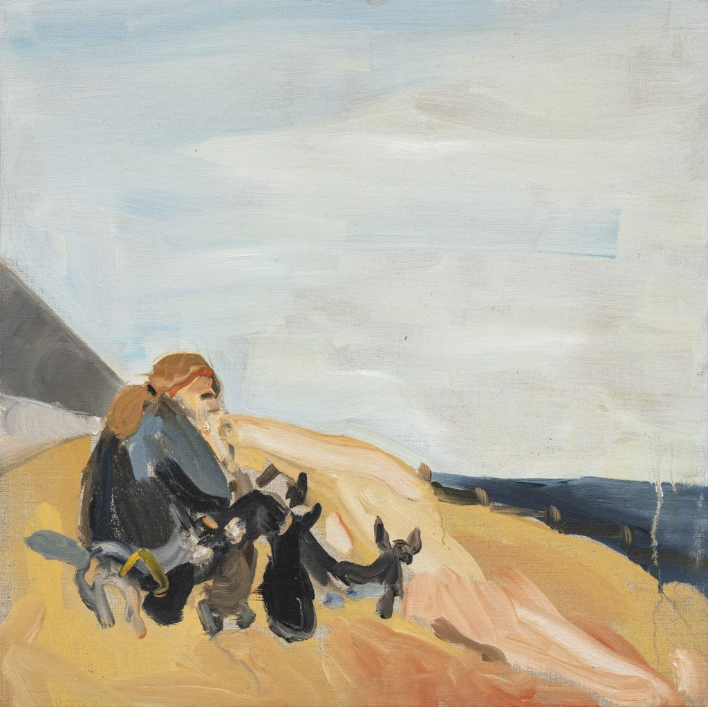 Chantal Joffe, My Mother in St Leonards with the Dogs, 2015, Oil on canvas-board, 40 x 40 cm 15 3/4 x 15 3/4 in © Courtesy the artist and Victoria Miro.