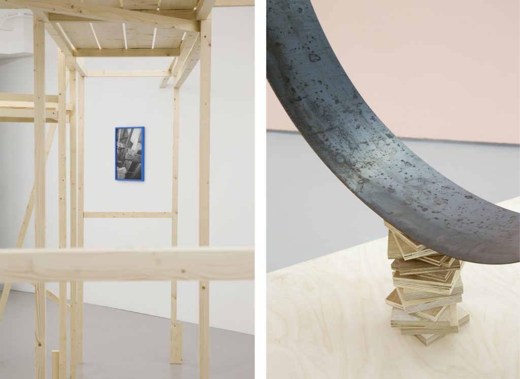 1. Installation view, Jan McCullough, Tricks of the Trade, 2020, Timber structure, photographic print, frame emulsion: biro blue, Centre for Contemporary Art, Derry~Londonderry, Northern Ireland (28th November 2020 – 1st May 2021).2. Installation view, Jan McCullough, Tricks of the Trade, 2020, Plywood plinth, torqued steel, Centre for Contemporary Art, Derry~Londonderry, Northern Ireland (28th November 2020 – 1st May 2021).