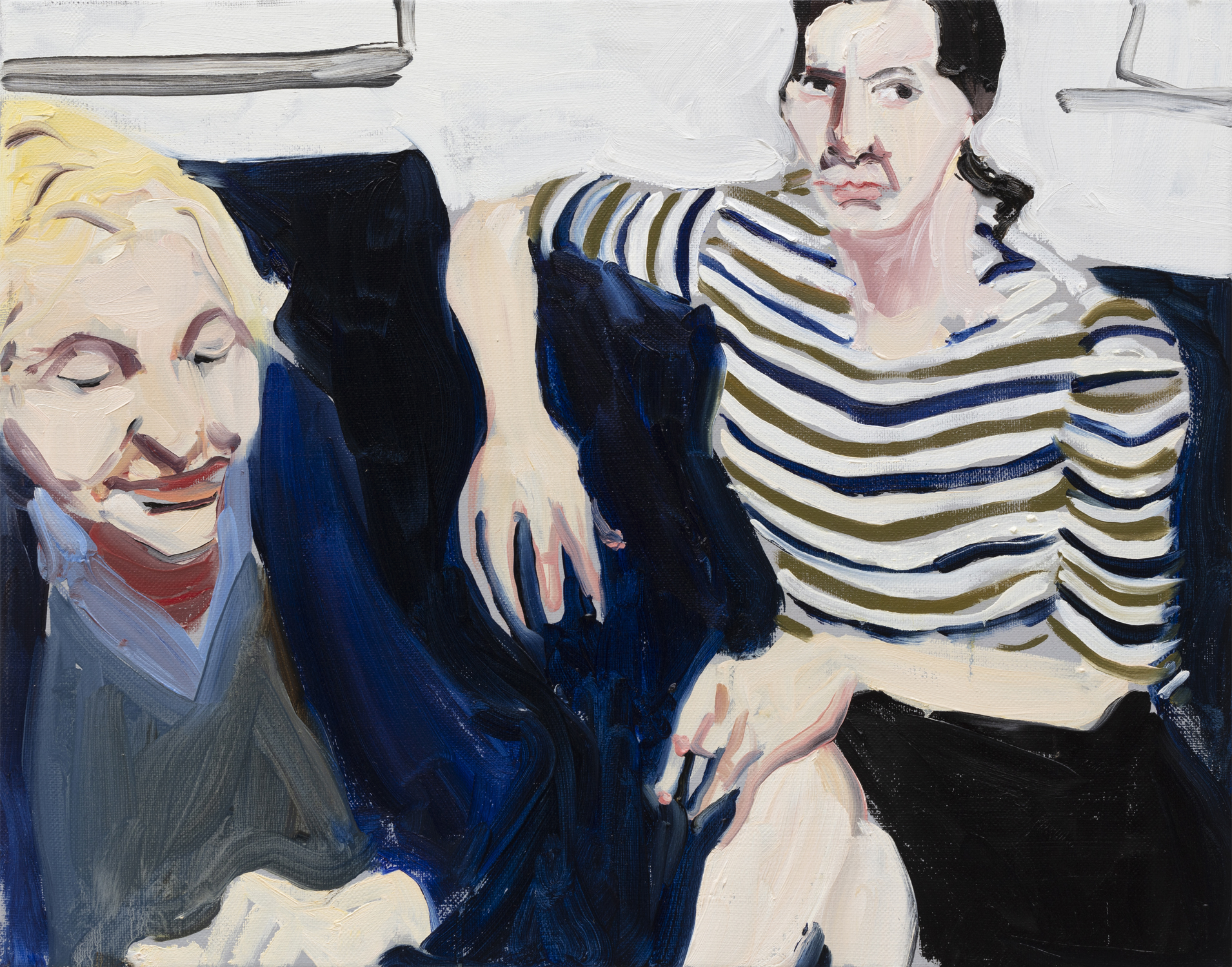 Chantal Joffe, Self-Portrait in Striped Shirt with My Mother_2019 Oil on canvas 49.5 x 39.5 cm, © Courtesy the artist and Victoria Miro.
