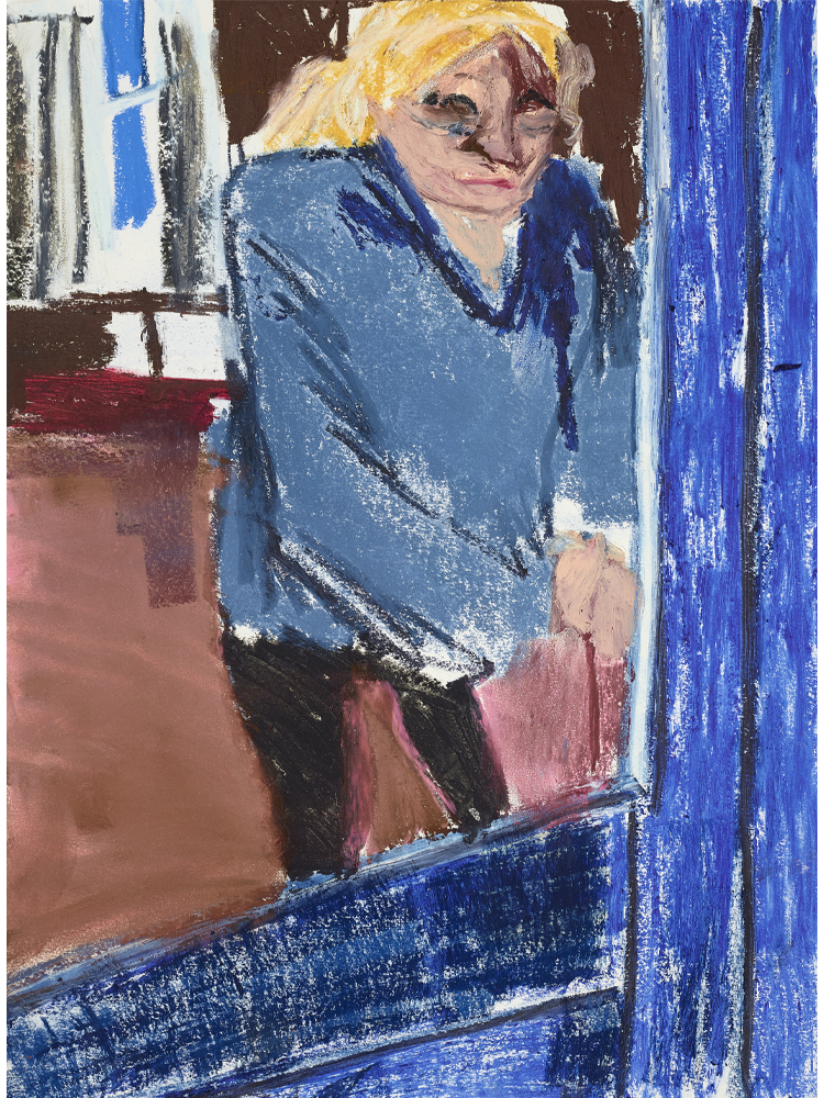 Chantal Joffe, <em>My Mother Locking Her Door,</em> 2020 Oil stick, pastel, pencil on cartridge paper 60 x 42 cm, © Courtesy the artist and Victoria Miro.