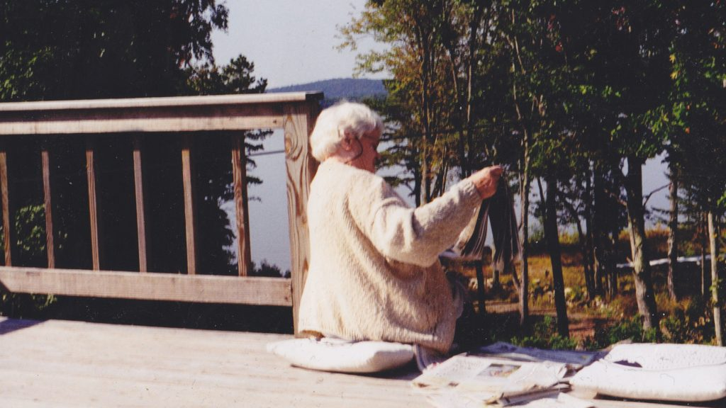 Mum on her deck. SLR photograph by Beth O'Halloran (2004)