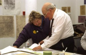 Jean Brady and John Kenny, working on 'Memory Maps' led by artist Ailbhe Murphy and Ann Davoran, 1995
