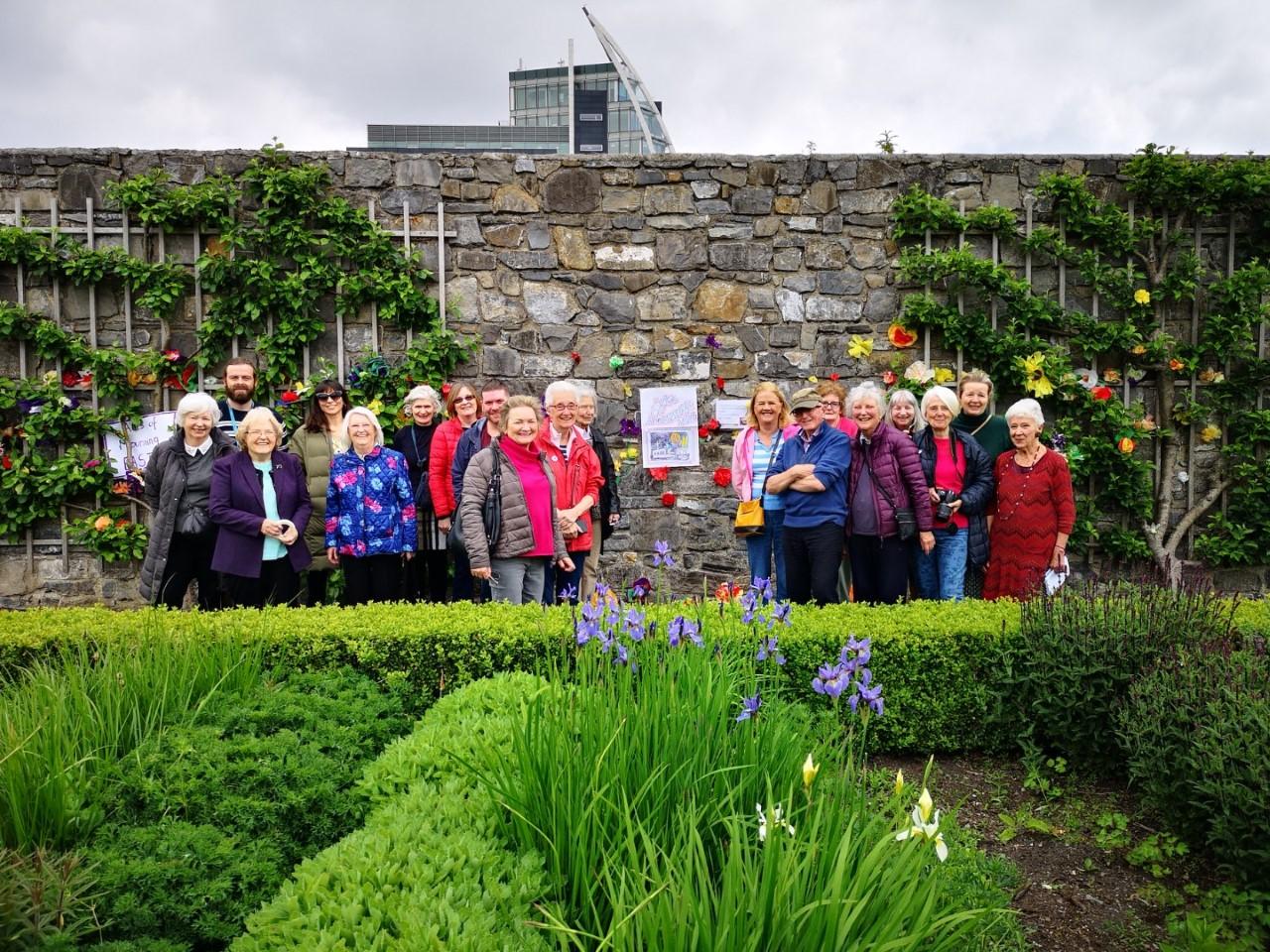 Studio 10 participants in IMMA's Formal Garden. Temporary installation in response to Doris Salcedo's exhibition, 2019